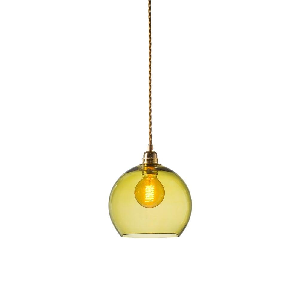 12146b7f1572 Copenhagen Glass Collection ROWAN - Small Transparent Olive Green Glass  Ceiling Pendant Light