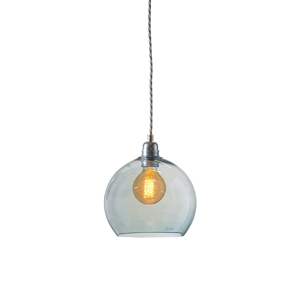 a532cb15b739 ROWAN - Small Transparent Topaz Blue Glass Ceiling Pendant Light