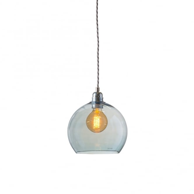ROWAN - Small Transparent Topaz Blue Glass Ceiling Pendant Light