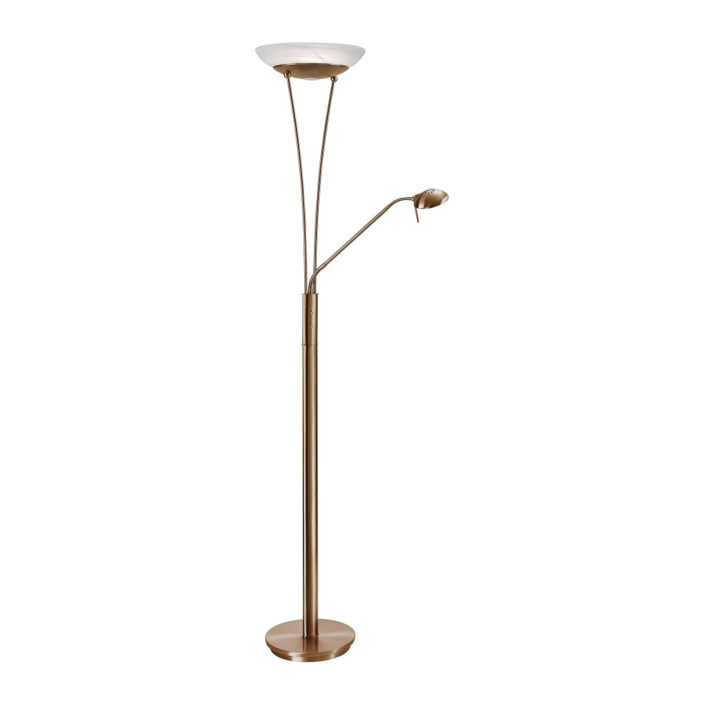 SARAH Mother Child LED Floor Lamp Antique Brass Alabaster Glass Shade