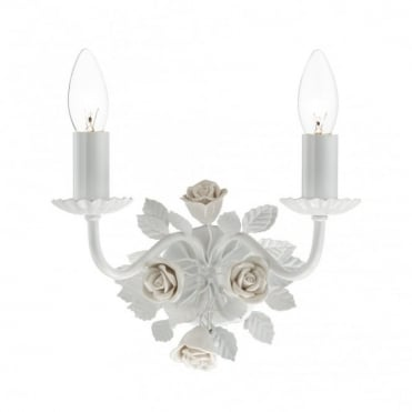 SASKIA - White Floral Wall Light With Pull Cord , Switched