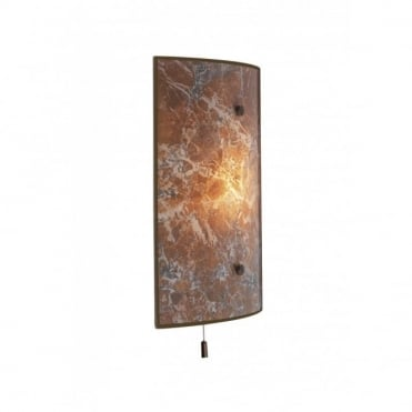 SAVOY - Brown Marbled Wall Light , Switched