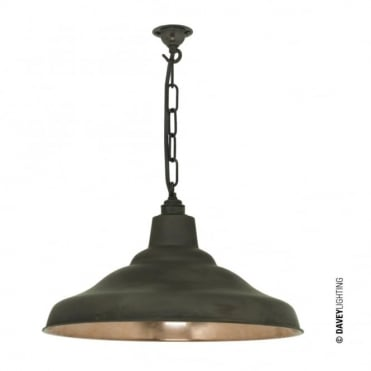 SCHOOL - Industrial Copper Ceiling Pendant With Weathered Brass Shade Outer