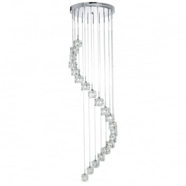 SCULPTURED - Ice 20Light Chrome Dingle Dangle
