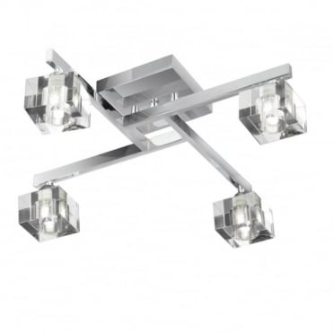 SCULPTURED - Ice 4 Light Chrome Flush Ceiling Clear Cube Glass