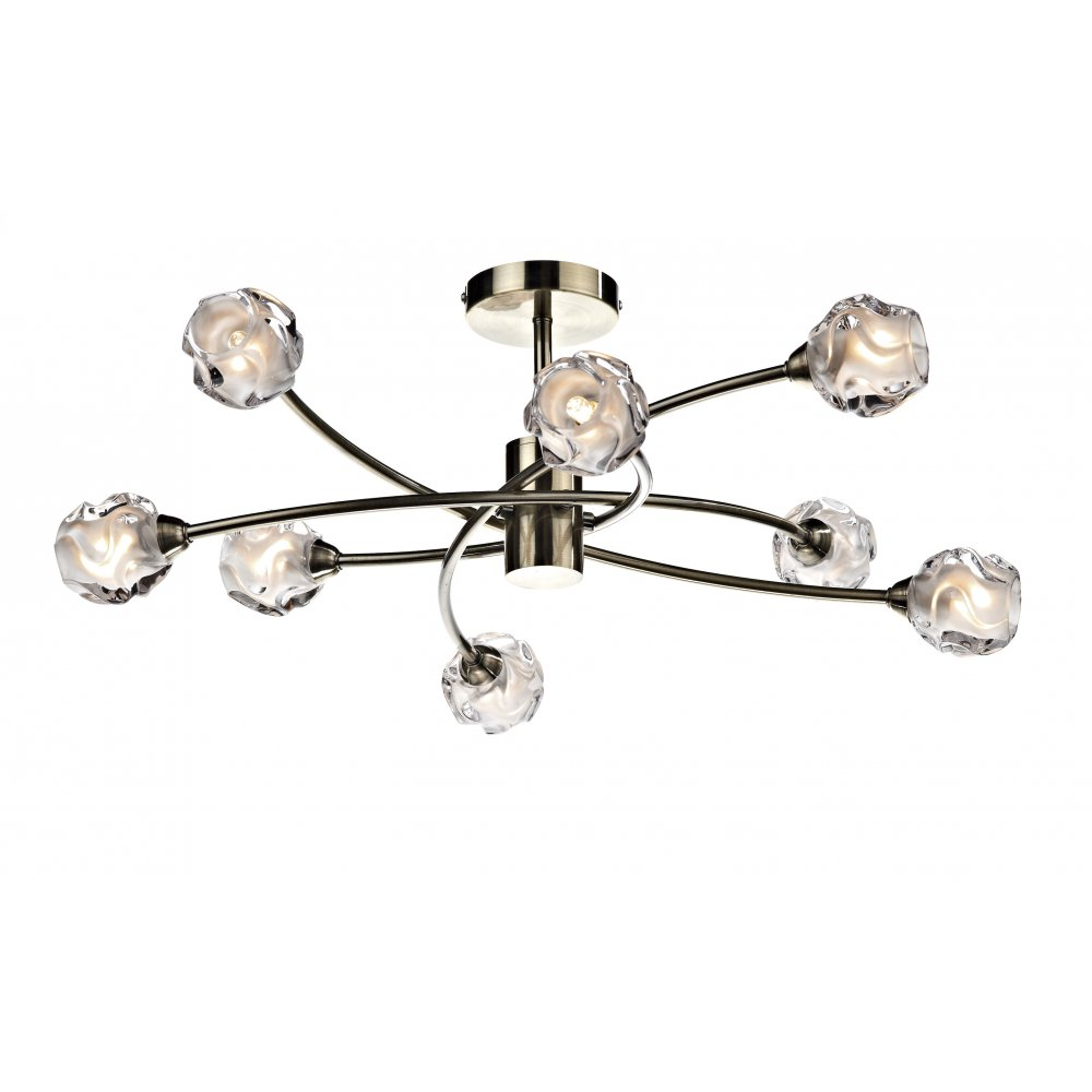Seattle large 8 light antique brass light for low ceilings