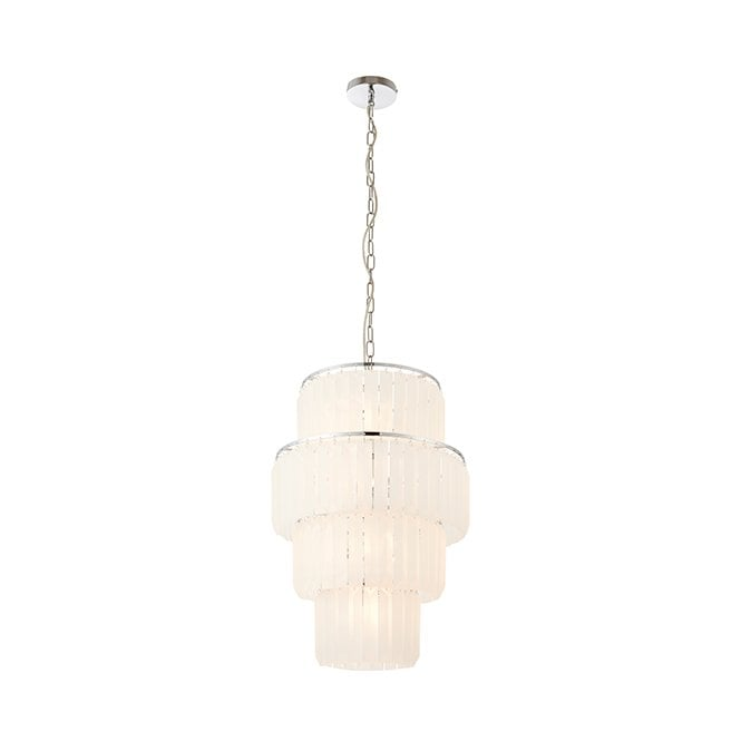 SELINA 10 Light Ceiling Pendant Frosted Glass Drops for High Ceilings