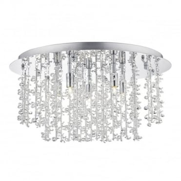 SESTINA - 5 Light Flush Ceiling Polished Chrome With Alum And Crystal Rods