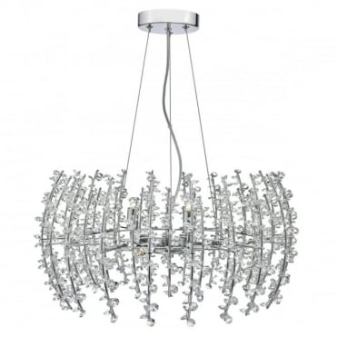 SESTINA - 6 Light Ceiling Pendant Polished Chrome Complete With Crystal Beads Polished Chrome