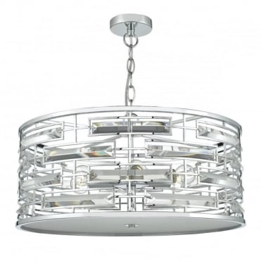 SEVILLE - 6 Light Ceiling Pendant Polished Chrome Crystal Polished Chrome