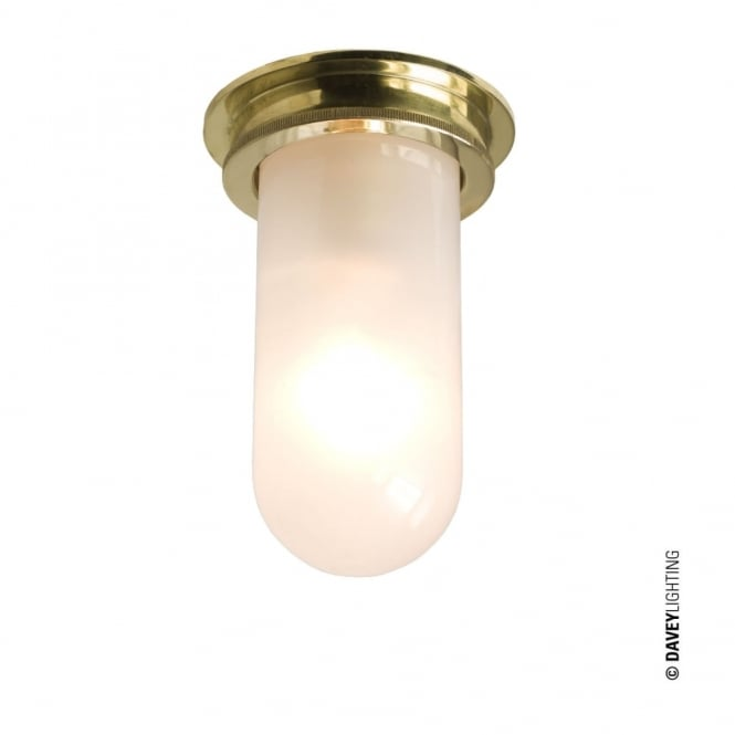 SHIP'S - Companionway Light Polished Brass Frosted Glass