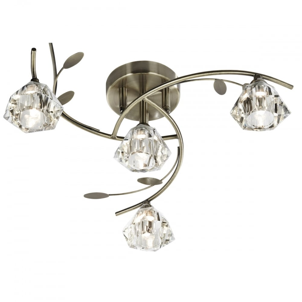 new styles 1948f 6f275 SIERRA - 4 Light Semi-Flush Ceiling Light In Antique Brass And Glass Shades