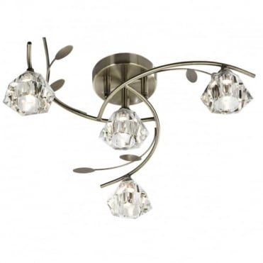 SIERRA - 4 Light Semi-Flush Ceiling Light In Antique Brass And Glass Shades