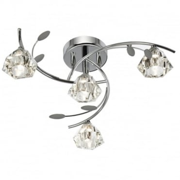 SIERRA - 4 Light Semi-Flush Ceiling Light In Chrome With Glass Shades