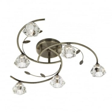SIERRA - 6 Light Semi-Flush Ceiling Light In Antique Brass With Glass Shades