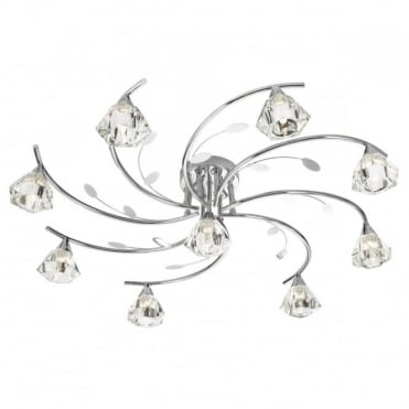 SIERRA - 9 Light Semi-Flush Ceiling Light In Chrome With Glass Shades