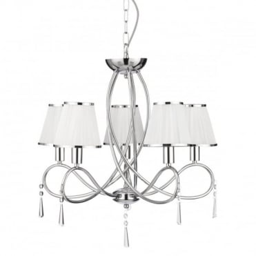 SIMPLICITY - 5 Light Ceiling Chrome Curved Frame White Str