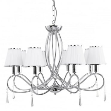 SIMPLICITY - 8 Light Ceiling Chrome Curved Frame White String Shades