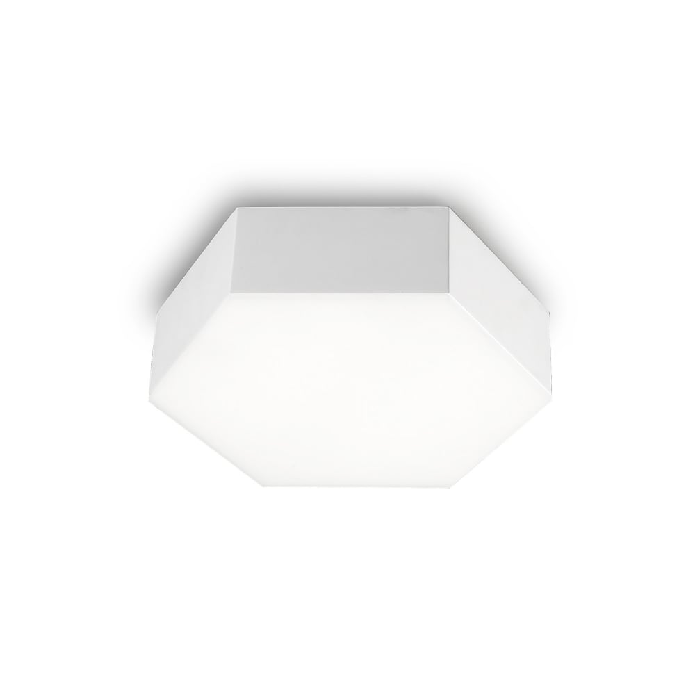 hexagonal led flush ceiling wall light white lighting and lights uk