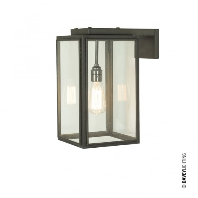 SMALL - Exterior Portico Wall Light Weathered Brass Clear Glass