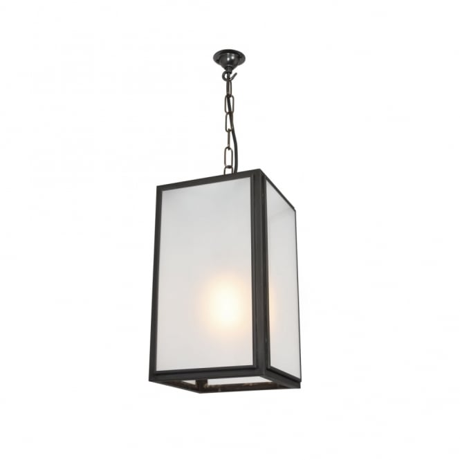 SMALL - Square Ceiling Pendant External Glass Weathered Brass Frosted Glass