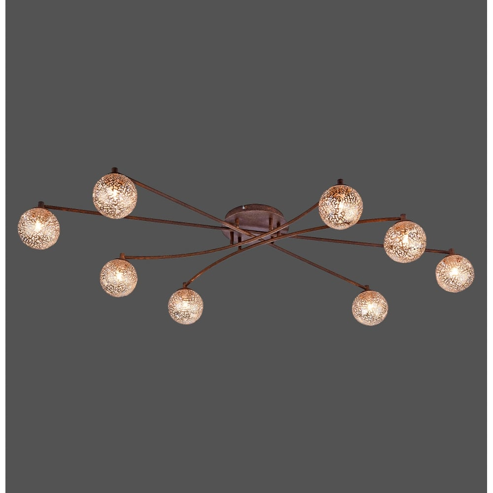 Greta Large Semi Flush Ceiling Light Brown With Textured Gold Globes