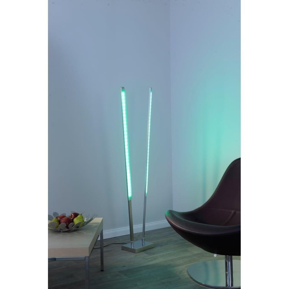 Qglido rgb colour changing led twin floor lamp steel remote control - Interior smart lighting ...