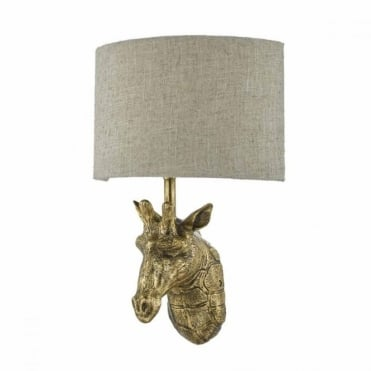 SOPHIE - Giraffe Wall Light in Gold with Natural Linen Shade