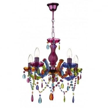 SOUK Multi-Coloured 5 Light Candelabra Style Ceiling Chandelier