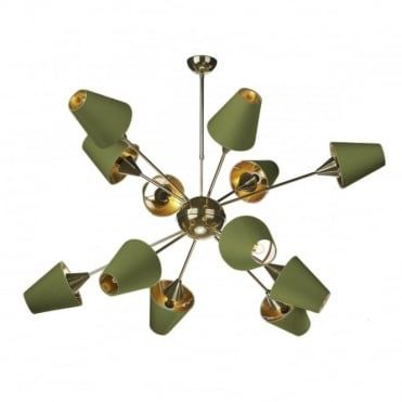SPUTNIK - 12 Light Ceiling Pendant Brass With Olive Green Shades