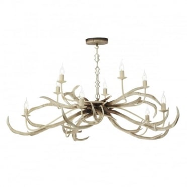 STAG - 10 Light Bleached Ceiling Pendant No Shades