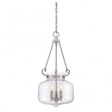STEWART - 3 Light Ceiling Pendant in Chrome, Stainless Steel, Clear