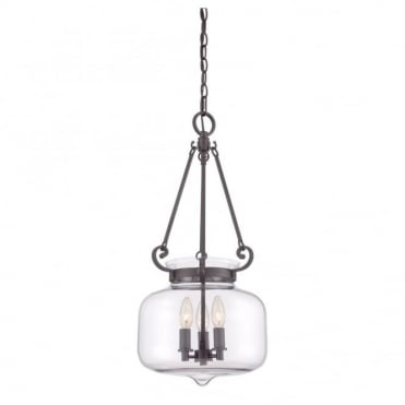 STEWART - 3 Light Ceiling Pendant in Clear, Bronze