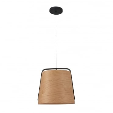 STOOD Black Ceiling Pendant with Natural Cherry Tree Wood Shade
