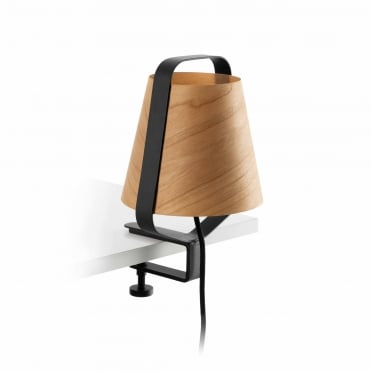 STOOD Black Clamp Light with Natural Wooden Shade