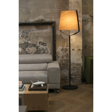 STOOD Black Floor Lamp with Natural Wooden Shade