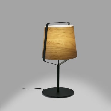 STOOD Black Table Lamp with Natural Wooden Shade