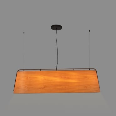STOOD Large Black Ceiling Pendant Bar with Natural Cherry Tree Wood Shade