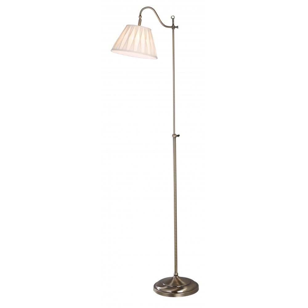 Traditional Rise Amp Fall Floor Lamp In Antique Brass With Shade