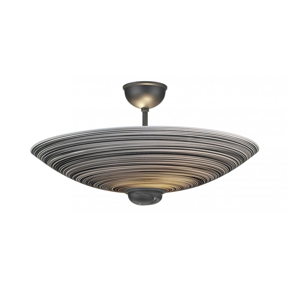 elegant semi flush ceiling with uplighter black swirl glass shade