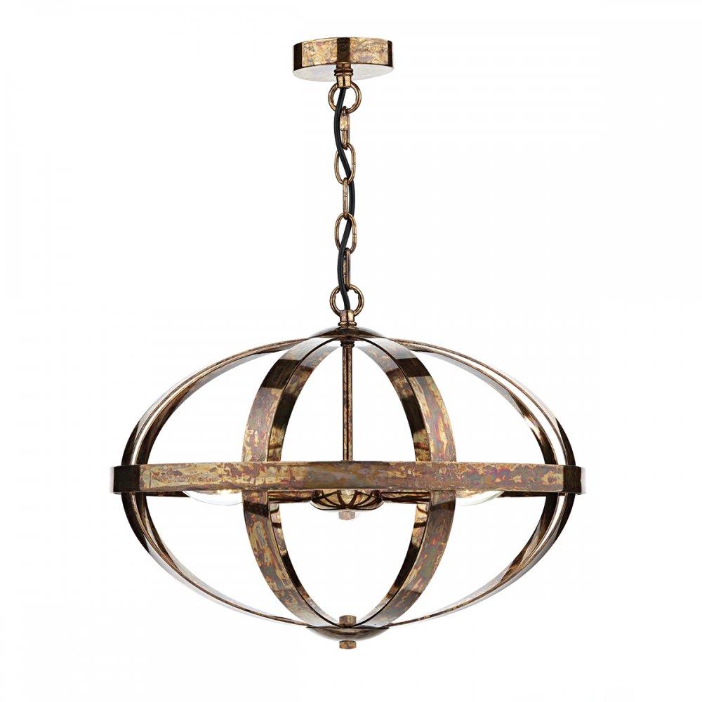 Symbol 3 Light Oval Globe Frame Pendant In A Dappled Copper Finish