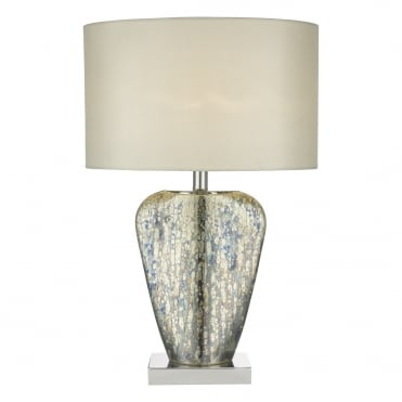 SYRACUSE Table Lamp Mercury Gold Glass complete with Cream Shade