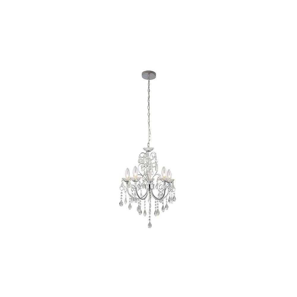 The Lighting Directory TABITHA 5 Light Pendant IP44 Bathroom Safe Chandelier Chrome and Crystal Glass