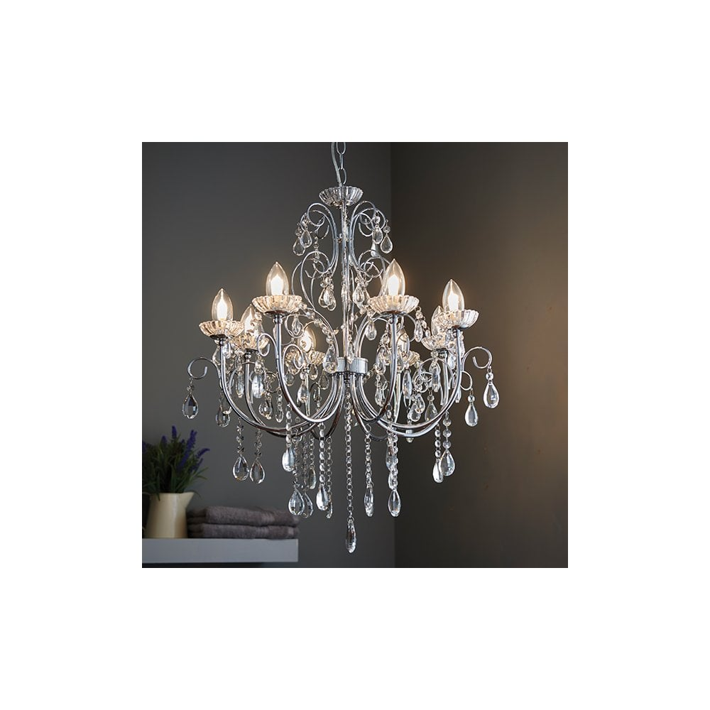 quality design b6964 81d1d TABITHA 8 Light Pendant IP44 Bathroom Safe Chandelier Chrome and Crystal  Glass