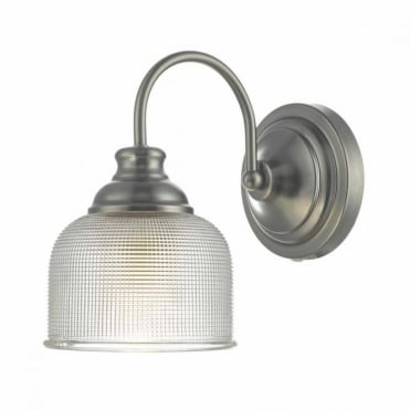 TACK - Antique Chrome Wall Light with Textured Glass Shade , Switched