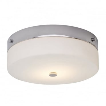 TAMAR LED Large Bathroom Flush Ceiling Light Chrome Opal Glass
