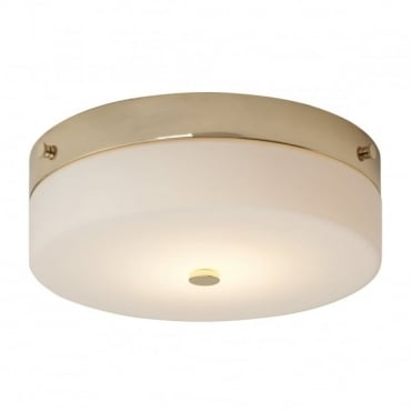 TAMAR LED Large Bathroom Flush Ceiling Light Gold Opal Glass