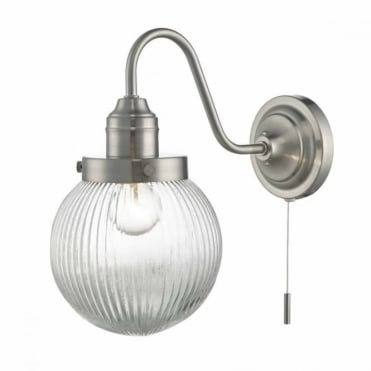 TAMARA - Satin Nickel Wall Light with Ribbed Globe Glass , Switched