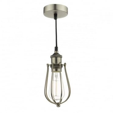 TAURUS - 1 Light Ceiling Pendant Cage Pewter