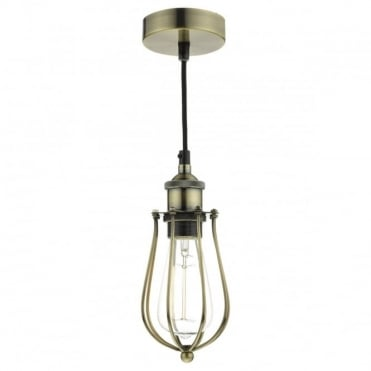 TAURUS - 1 Light Pendant Cage Antique Brass